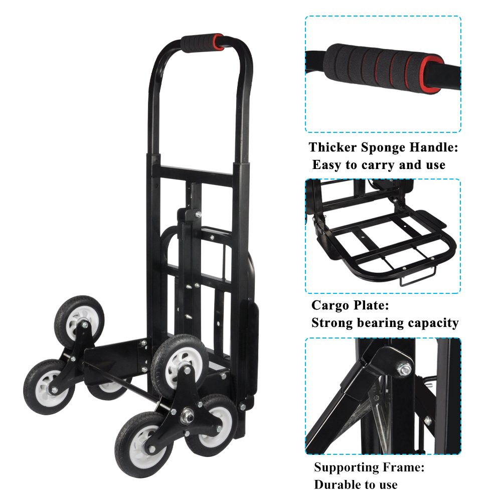 Yosoo Stair Climbing, Solid Rubber Tires 440LBS Barrow Portable Stair Hand Truck Bracket Roll Cart Trolley Stair Climbing Cart (#1 Black)