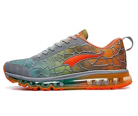 Herren Sportschuhe Laufschuhe mit Luftpolster Turnschuhe Profilsohle Sneakers Leichte Schuhe, Orange, 44 EU