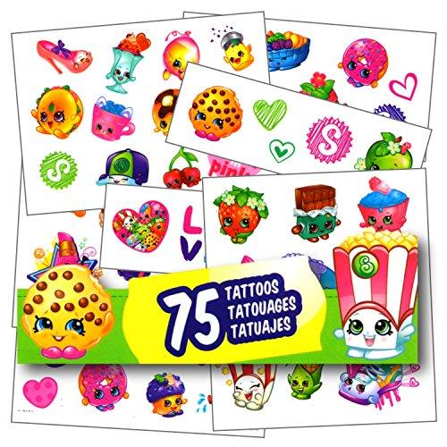 Shopkins Tattoos - 75 Assorted Temporary (Disney Princess Temporary Tattoo Book)
