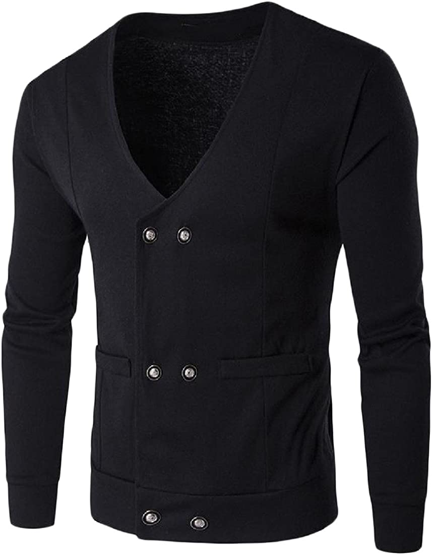 Honey GD Men Classic Solid Color Button Down Open Front Knitted Sweater