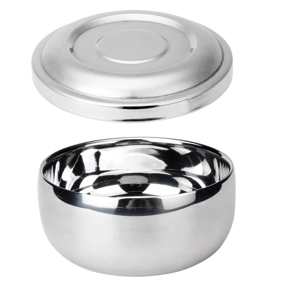 Doinshop Stainless Steel Men Traditional Shaving Mug Soap Bowl For Shave Brush (7.3cmx4.3cm)