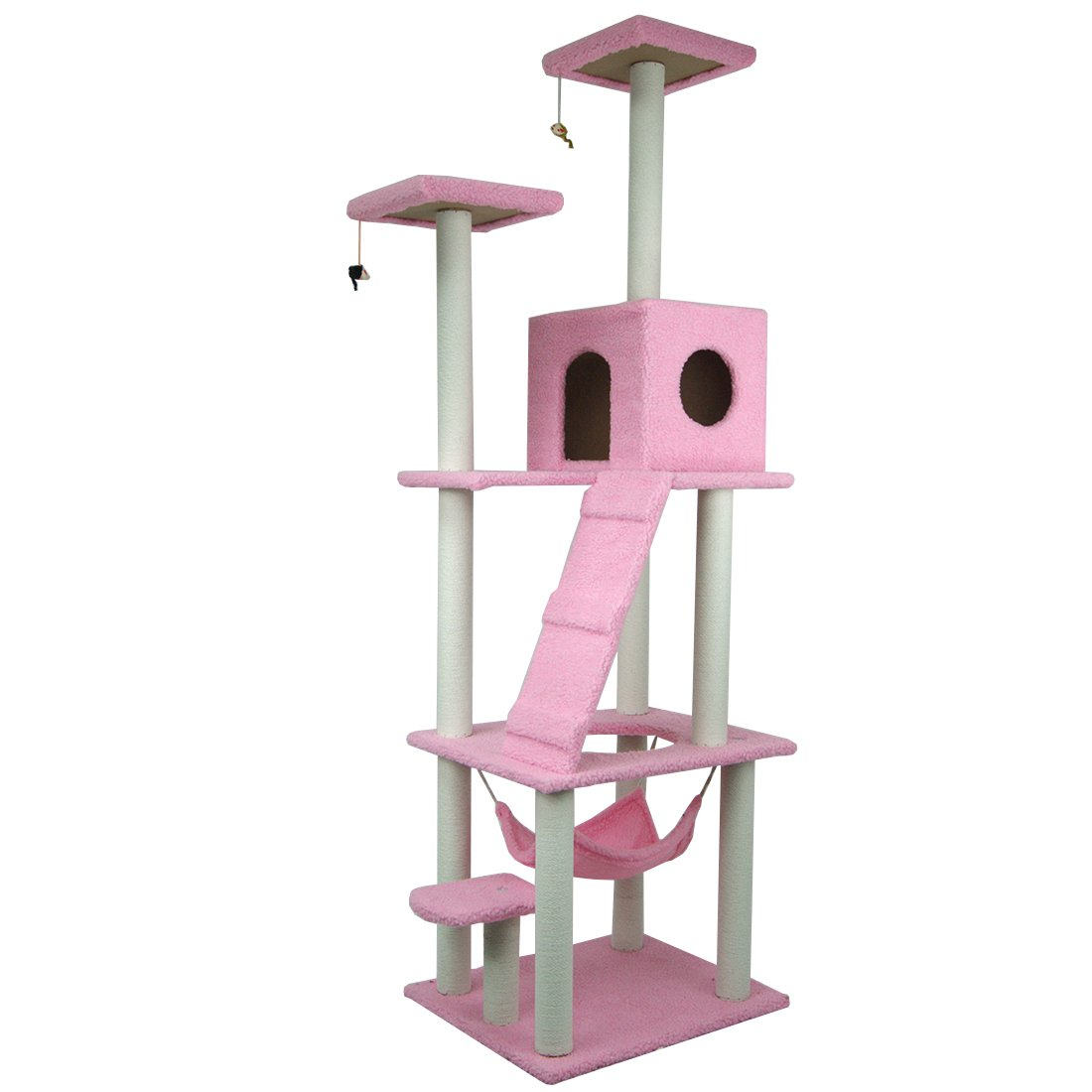 Harmony Life 73 Inch Cat Tree Tower Condo Scratcher Post Furniture Pet House With Hammock Bed (Pink)