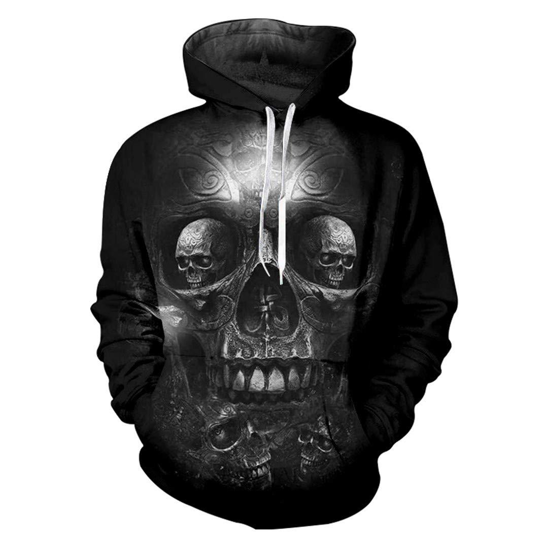 Monssiranth Mens 3D Hoodies Cool Print Gold Skull Sweatshirts Hiphop Streetwear Tracksuit Long Sleeve Pullovers Jumpers