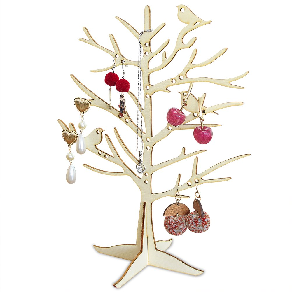 Bizzoelife Creative Wooden Stand Jewelry Display Organizer Hanging Tree Holder for Earrings, Necklaces, Rings (Tree) by Bizzoelife (Image #1)