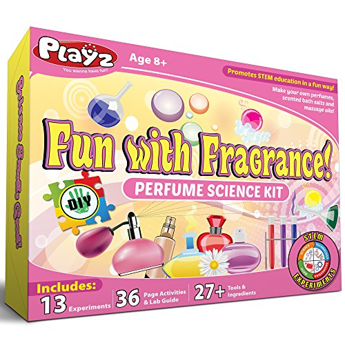 Playz Fun with Fragrance Perfume Making Science Kit for Kids - 13+ STEM Experiments & DIY Activities to Learn the Chemistry Behind Perfumes with 36 Page Lab Guide & 27+ Tools and Ingredients for Girls