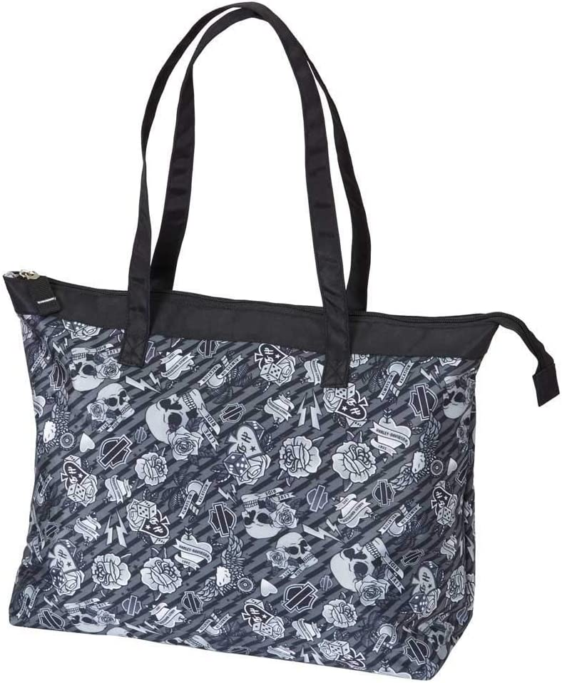 Harley Davidson Women's Shopper Tote Shoulder Bag, Grey Tattoo, One Size