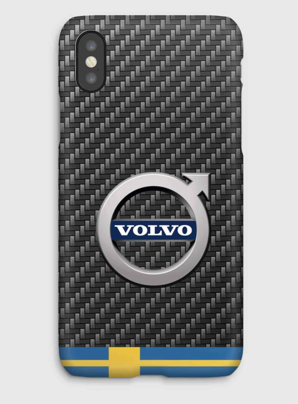 Carbon Volvo, coque pour iPhone XS, XS Max, XR, X, 8, 8+, 7, 7+, 6S, 6, 6S+, 6+, 5C, 5, 5S, 5SE, 4S, 4,