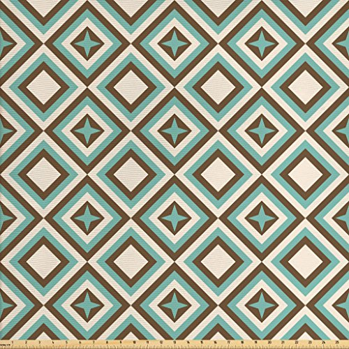 Lunarable Geometric Fabric by The Yard, Retro Design Concentric Diamond Shapes with Four Point Star Icon, Decorative Fabric for Upholstery and Home Accents, Pale Blue Brown and - Point Icon