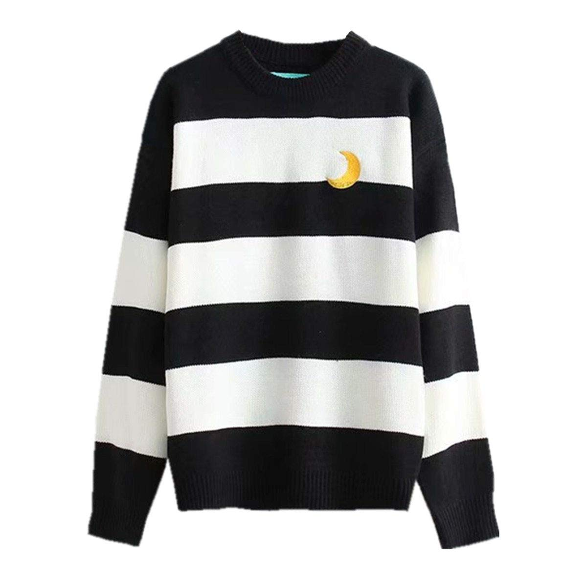 Packitcute Striped Knitted Sweater, Long Sleeve Moon Embroidery Cute  Sweaters for Women