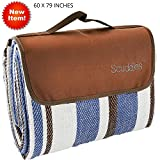 Scuddles Extra Large 60 X 79 inch Picnic & Outdoor Blanket Dual Layers for Outdoor Water-Resistant Handy Mat Tote Spring Summer Striped Great for The Beach,Camping on Grass Waterproof (Blue 60 X 79)