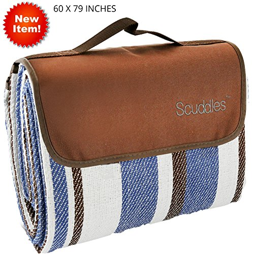 Scuddles Extra Large 60 X 79 inch Picnic & Outdoor Blanket Dual Layers for Outdoor Water-Resistant Handy Mat Tote Spring Summer Striped Great for The Beach,Camping on Grass Waterproof (Blue 60 X 79) -