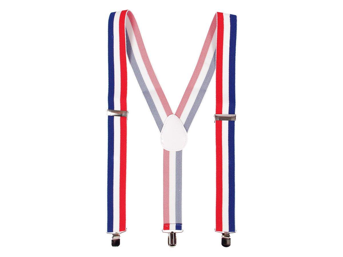 Bretelles Y unisex bleu blanc rouge (Alsino 00/0762) réglables et élastiqués couleur de l'équipe de France déguisement fête de qualité supérieure pour supporters Promotion special Allez les bleus
