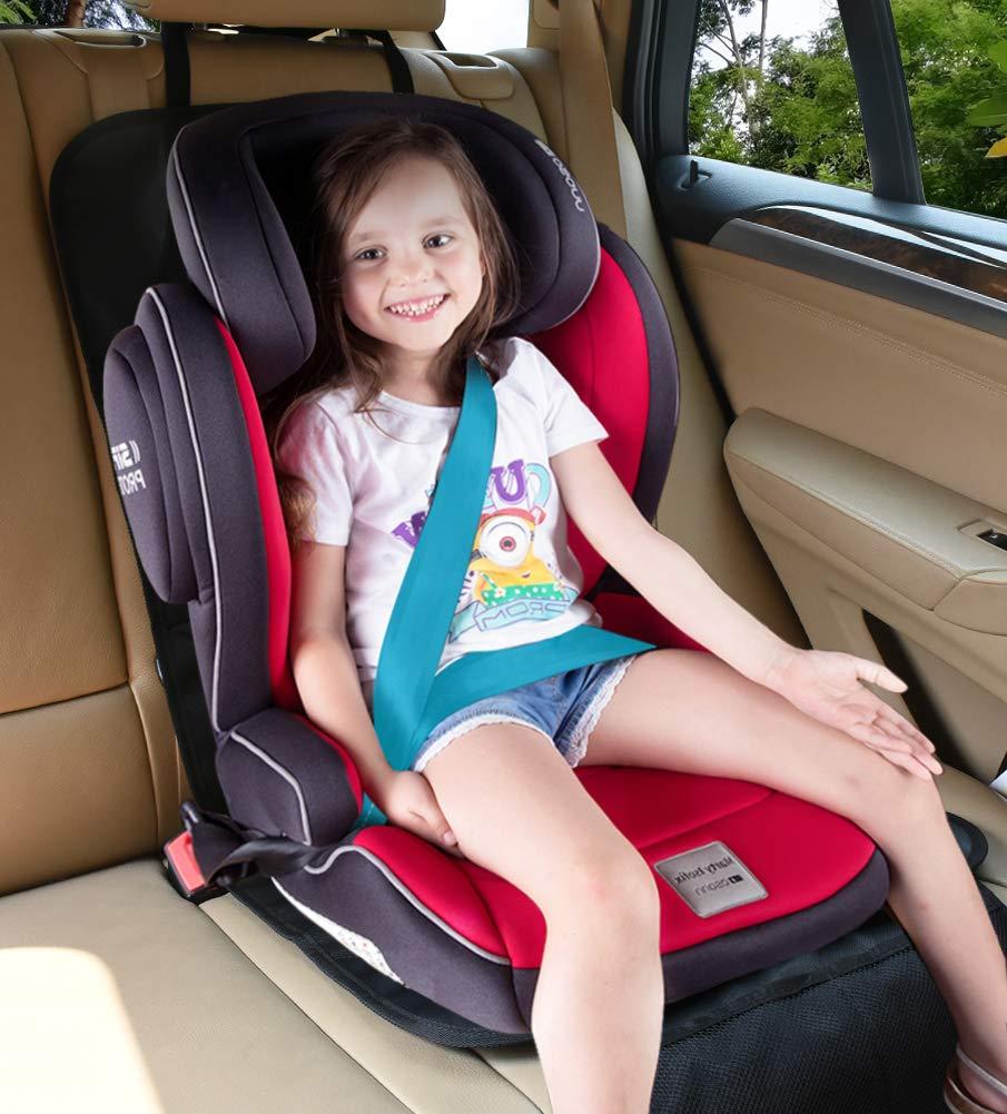 DINOKA 2 St/ück Wasserabweisend Autositzschoner mit Netztasche Auto-Kindersitzunterlage ISOFIX Geeignet Kindersitz Schutzunterlage f/ür Universale Autos Autositzauflage Kindersitzunterlage