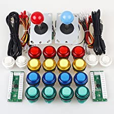 EG STARTS Classic Arcade DIY Kit Parts 2x USB LED Encoder To PC Consols Games + 2x 4/8 Ways Joystick + 20x 5V Illuminated Push Buttons For Mame Raspberry pi ( Red / Blue Stick + MIX Color Buttons)