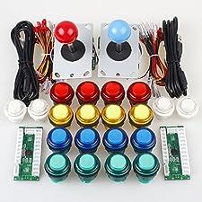 Jiu Man Classic Arcade DIY Kit Parts 2x USB LED Encoder To PC Consols Games + 2x 4/8 Ways Joystick + 20x 5V Illuminated Push Buttons For Mame Jamma ( Red / Blue Stick + MIX Color Buttons)