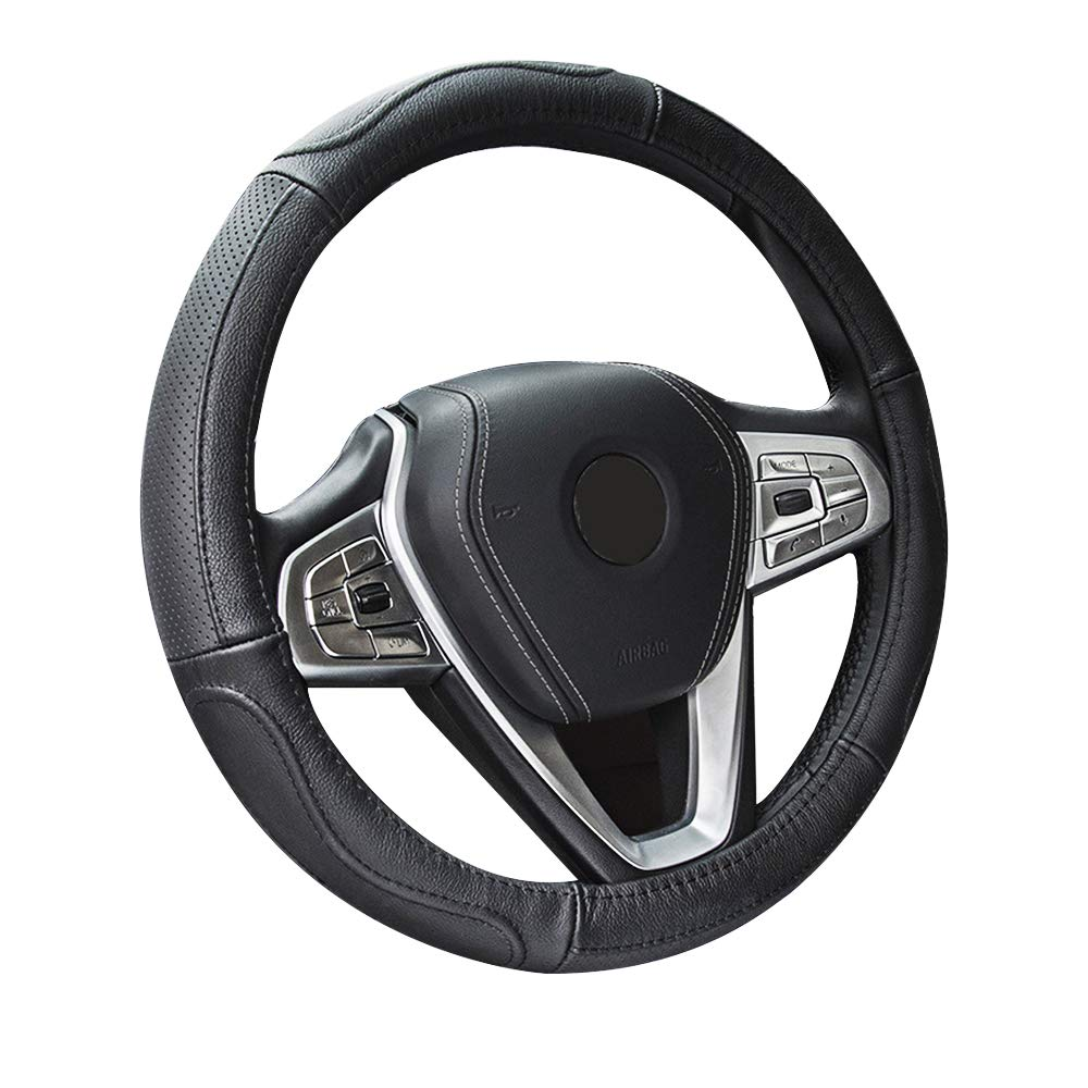 PEIFEITE Leather Steering Wheel Cover Genuine Leather Anti-Slip Strong Grip Odorless Car Handmade Steering Wheel Covers Universal Size 14.5-15.4 Inch Diameter for Car Trunk SUV Black