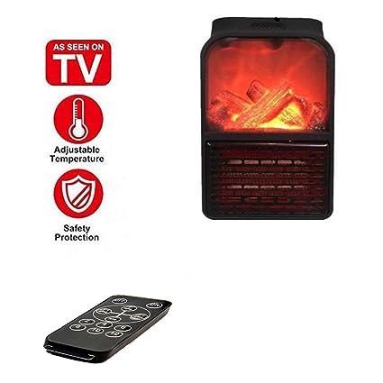 Estufa eléctrica de bajo consumo, calentador eléctrico, mini calentador portátil de 900 vatios, con llama simulada y control remoto, termostato ...
