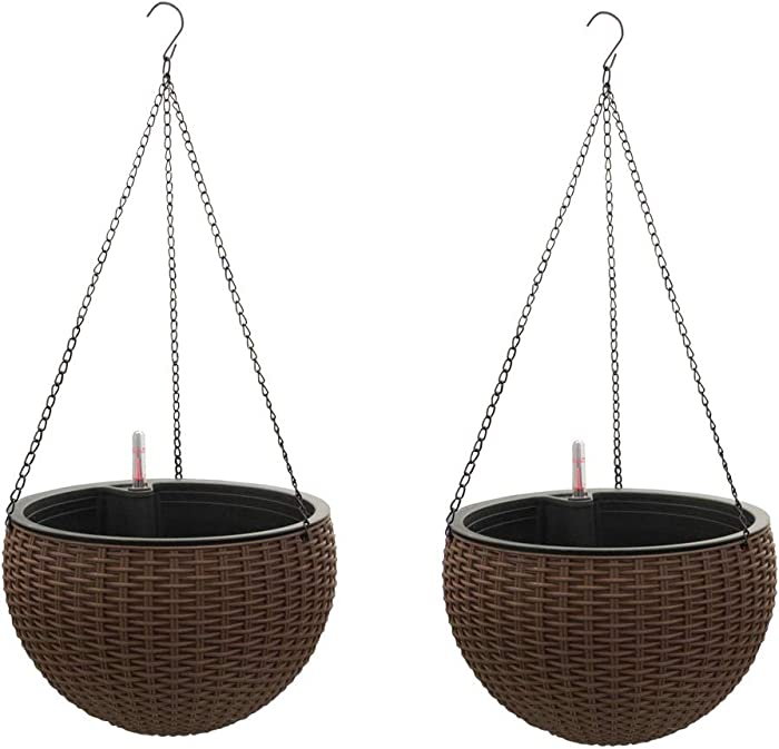 Self-Watering Hanging Planter Baskets with Water Reservoir & Fill Indicator, Espresso Brown, Self Watering Round Resin Garden Flower Pot Set for Flowers & Plants, for Home & Garden, Porch or Balcony