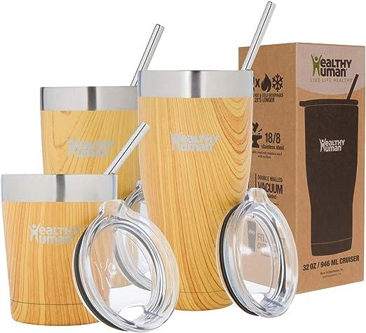 Healthy Human 32oz-cruiser-golden-oak Stainless Steel Tumbler Cup