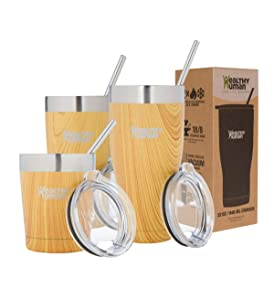 Healthy Human Insulated Tumbler Cruisers with Stainless Steel Straw & Clear Lid - Keeps Hot & Cold Beverages 2 Times Longer - Vacuum Double Walled Thermos 20 oz. Golden Oak