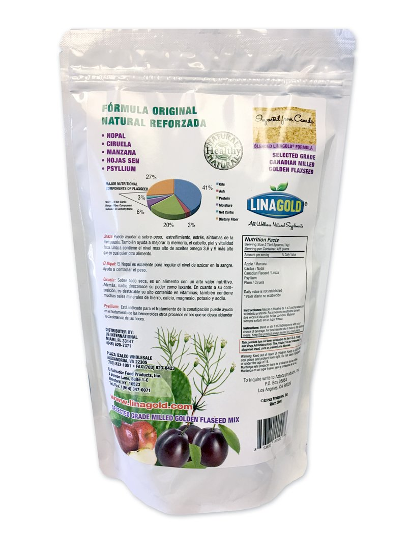 Amazon.com: Linaza Adelgazante Flaxseed Slimming Powder Blend (15oz) LinaGold®: Health & Personal Care