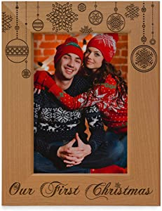 KATE POSH - Our First Christmas Engraved Natural Wood Picture Frame - First Christmas Together Gifts, First Christmas as Husband and Wife, Gifts for Newlyweds, for Couples (4x6-Vertical)