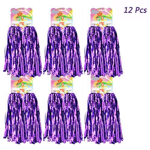 Hatisan 12 Pack Cheerleading Pom Poms, Cheerleader Pompoms Metallic Foil Pom Poms for Sports Team Spirit Cheering Party Dance Useful Accessories ()