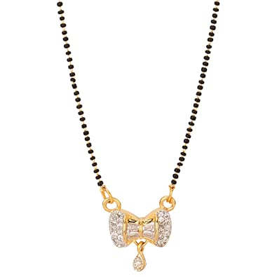 5061bd2940aa8 Efulgenz Jewellery Ethnic Traditional Gold Plated American Diamond  Mangalsutra Pendant Necklace with Chain for Women and Girls