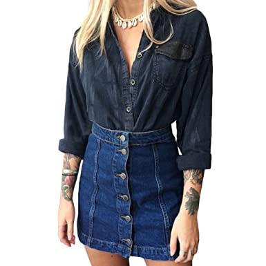 7e585df86 VERYCO Women Denim Mini Skirt High Waisted Button Up A Line Jean Skirts:  Amazon.co.uk: Clothing