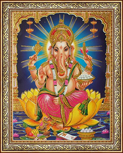 Avercart Lord Ganesha / Shree Ganesh / Shri Ganpati Poster 8.5x11 inch with Photo Frame (21x28 cm framed)