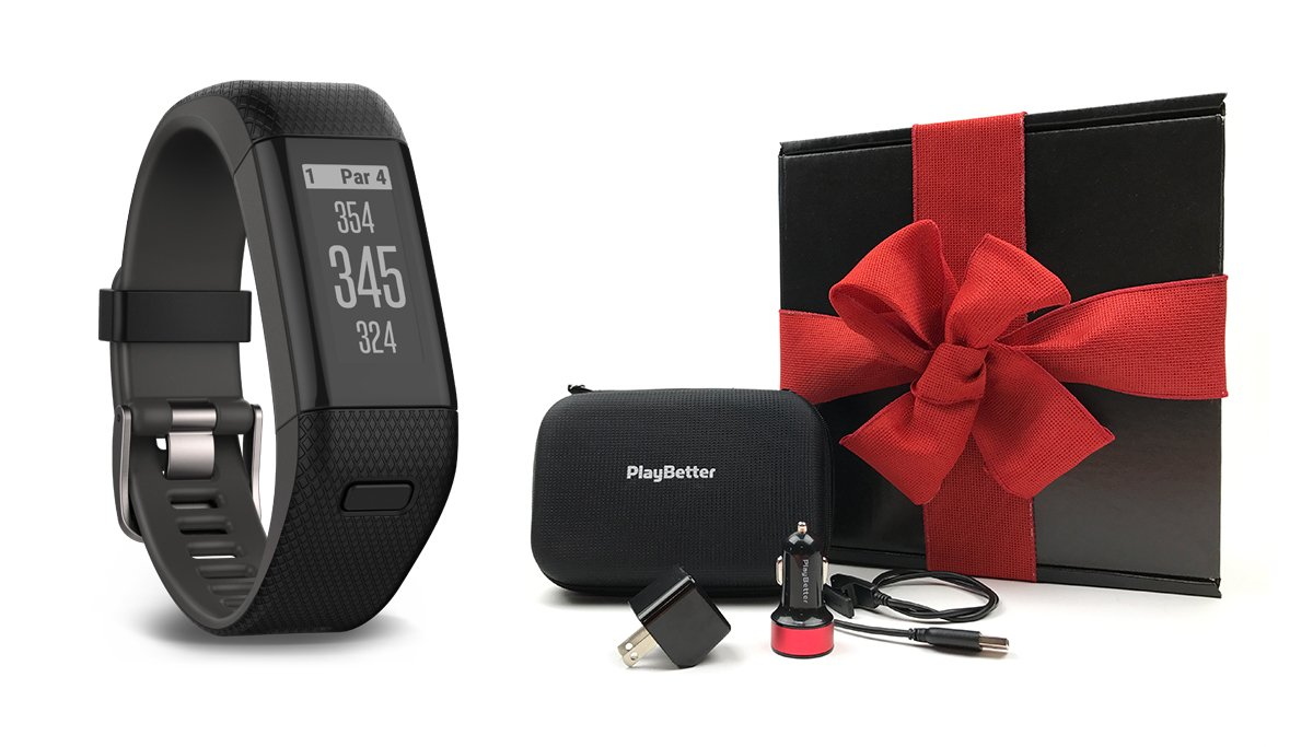 Garmin Approach X40 (X-Large, Black/Gray) Gift Box Bundle | Includes Golf GPS/Fitness Band, PlayBetter USB Car & Wall Charging Adapters, Protective Hard Carrying Case | Black Gift Box and Red Bow by PlayBetter (Image #1)