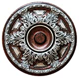 Fine Art Deco ''Silver Cup'' Hand Painted Ceiling Medallion 19 In. Finished in Silver, Antique Copper and Warm Silver