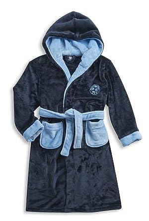 b3408d122d CARGO BAY Kids Boys Dressing Gown Soft Flannel Fleece Plain Hooded Football  Robe