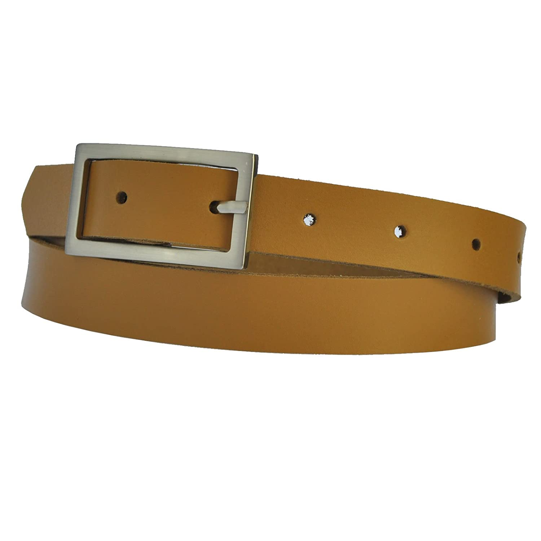 Schmal 2,5cm Breit Echt Leder Guertel mit 4 Eckiger Schnalle W/ählbar aus 22 Farben und 12 L/ängen