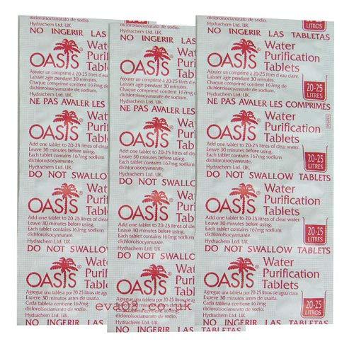 EVAQ8 Oasis 167mg Emergency Water Purification Tablets 500 Tablets - Treats...