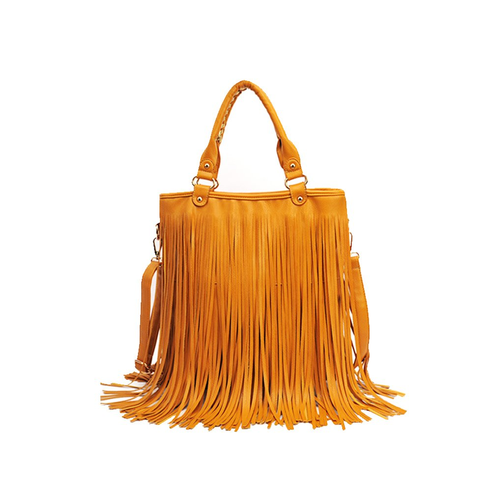 Amazon.com  Fashion Story Fringe Vintage Messenger Hobo Cross Body Shoulder  Top Handle Bag Summer Tassel Women (yellow)  Baby c5b68b751e864