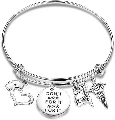CHOORO Student Nurse Bracelet Dont Wish for It Work for It Nursing Student Jewelry Nurse Graduation Gift