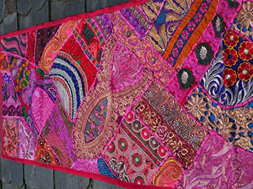 Shanti Gypsy - wall tapestry, pink runner, Indian handmade wall decor, patchwork vintage - Sari Tapestry