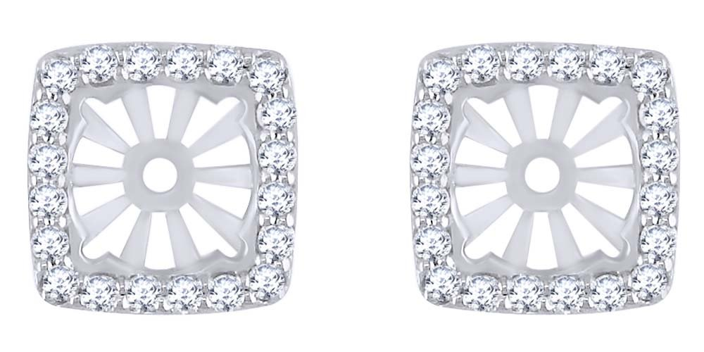 White Natural Diamond Earring Jackets in 14k Solid White Gold (0.60 Ct) by AFFY