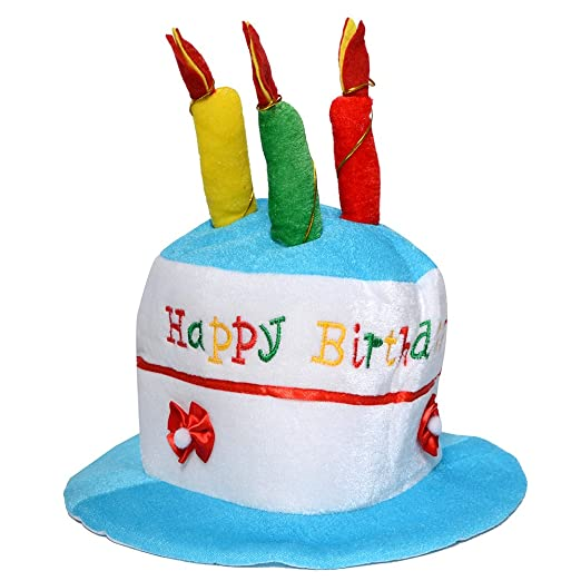 QBSM Kids Happy Birthday Hat Cake Novelty With Candles Caps For Child Blue