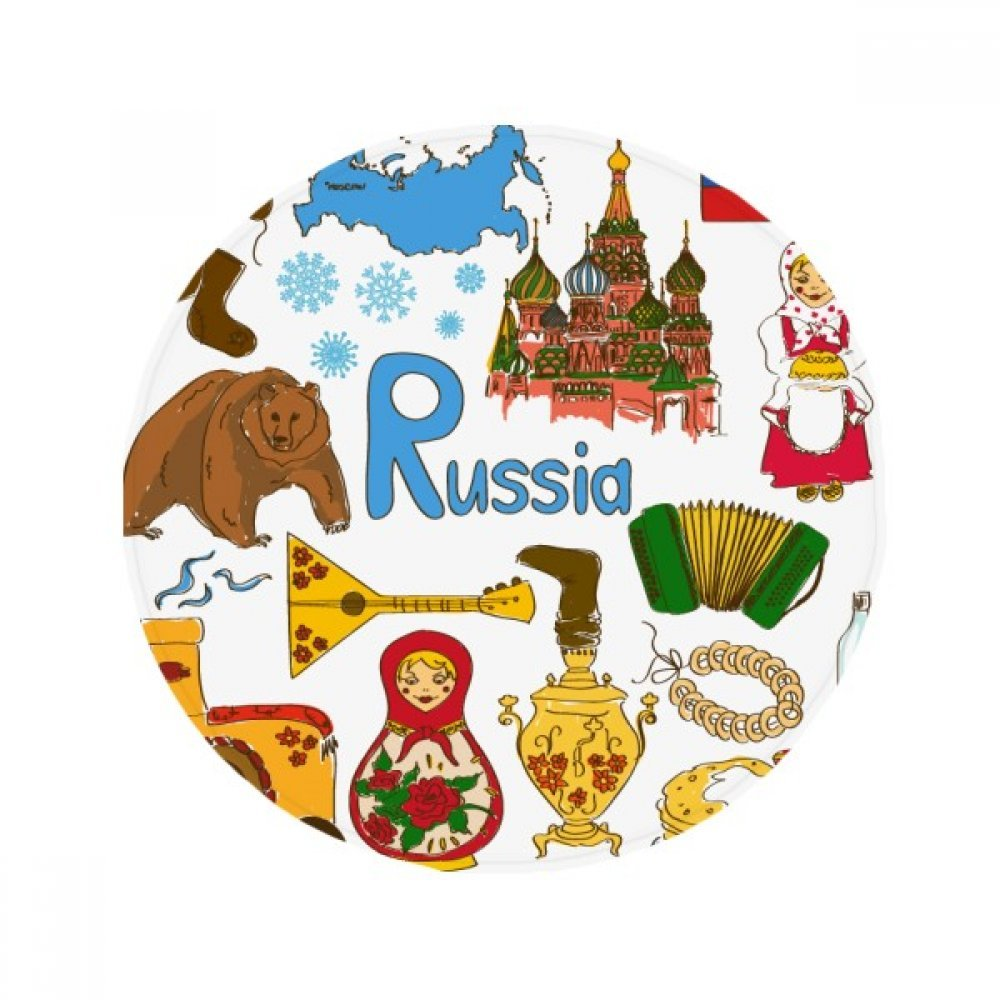 60X60cm DIYthinker Russia Landscap Animals National Flag Anti-Slip Floor Pet Mat Round Bathroom Living Room Kitchen Door 60 50Cm Gift