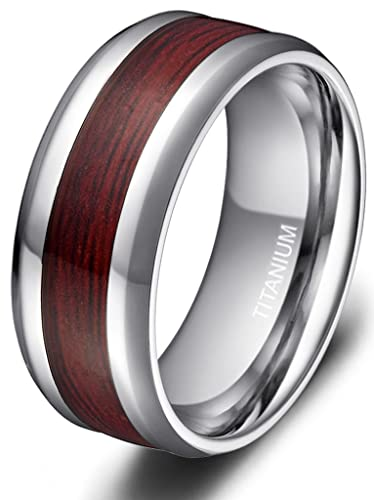 8mm Mens Titanium Ring Real Wood Grain Inlay Polished Beveled Edges Comfort Fit Wedding Band Size