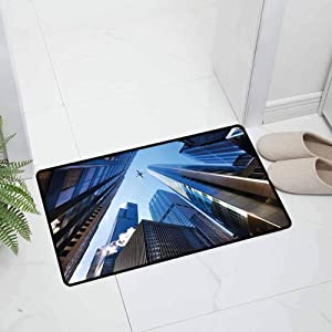 Urban Indoor Outdoor Kitchen Rugs and Mats Holiday Doormat Looking Up at Chicagos Skyscrapers in Financial District American City for Entry and High Traffic Areas, 47 x 31.5 inch Blue