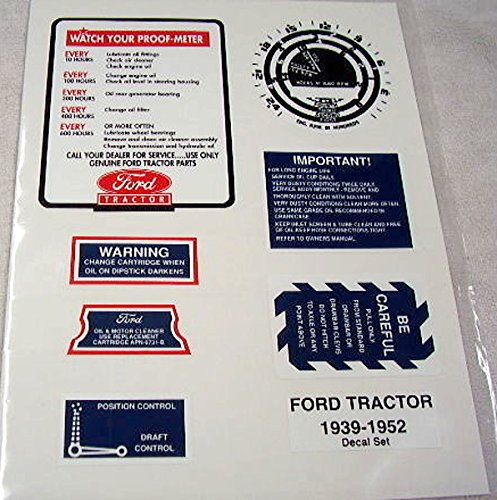 1939 - 1952 FORD TRACTOR 9N 8N 2N RESTORATION DECAL SET - the Proof-Meter Instructions, Proof-Meter Face, Draft Control, Power Take-Off, Air Cleaner and 2 Oil Filter Decals (Grille Face)