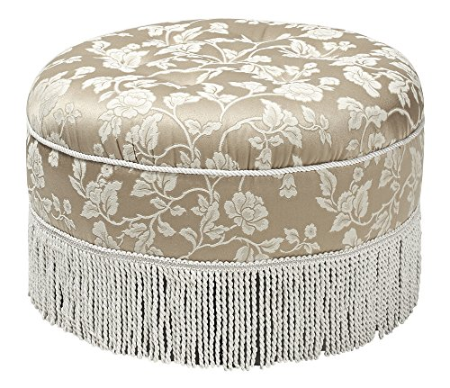 Jennifer Taylor Home Yolanda Collection Traditional Modern Cotton Blend Hand Tufted With Cord and Fringe Round Ottoman, Neutral