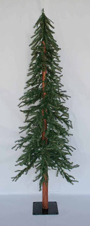 10 ft artificial downswept alpine slim christmas tree unlit with wood trunk - 10 Ft Artificial Christmas Trees