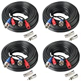 4Pack 50Feet BNC Vedio Power Cable Pre-Made Al-in-One Camera Video BNC Cable Wire Cord for Surveillance CCTV Security System With Connectors(BNC Female and BNC to RCA)