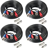 SHD 4Pack 50Feet BNC Vedio Power Cable Pre-Made Al-in-One Camera Video BNC Cable Wire Cord for Surveillance CCTV Security System With Connectors(BNC Female and BNC to RCA)