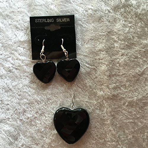 natural black onyx gemstone faceted heart pendant and sterling silver dangle earrings set ()