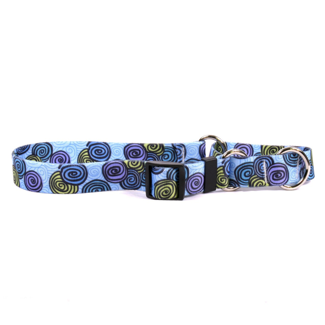 Large 26\ Yellow Dog Design Spirals bluee Martingale Dog Collar-Size Large-1  Wide and fits Neck 18 to 26
